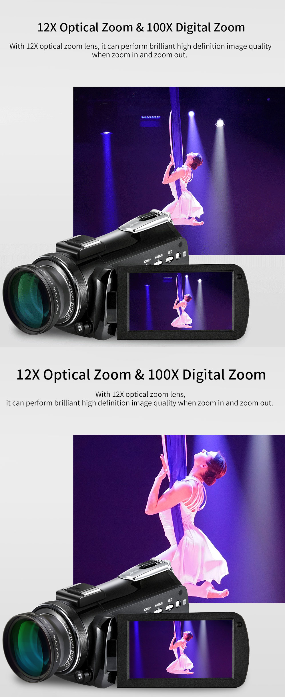4k WIFI Digital Video Camcorder with 3.0'' Touch Display/12 x Optical Zoom Professional Home Use Digital Camcorder 4