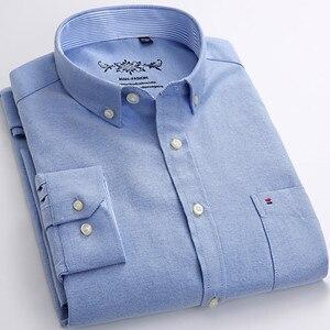 Image 2 - قميص رجالي أكسفورد جديد للربيع والخريف بأكمام طويلة من القطن غير رسمي قميص منقوش متين 5XL 6XL مقاس كبير