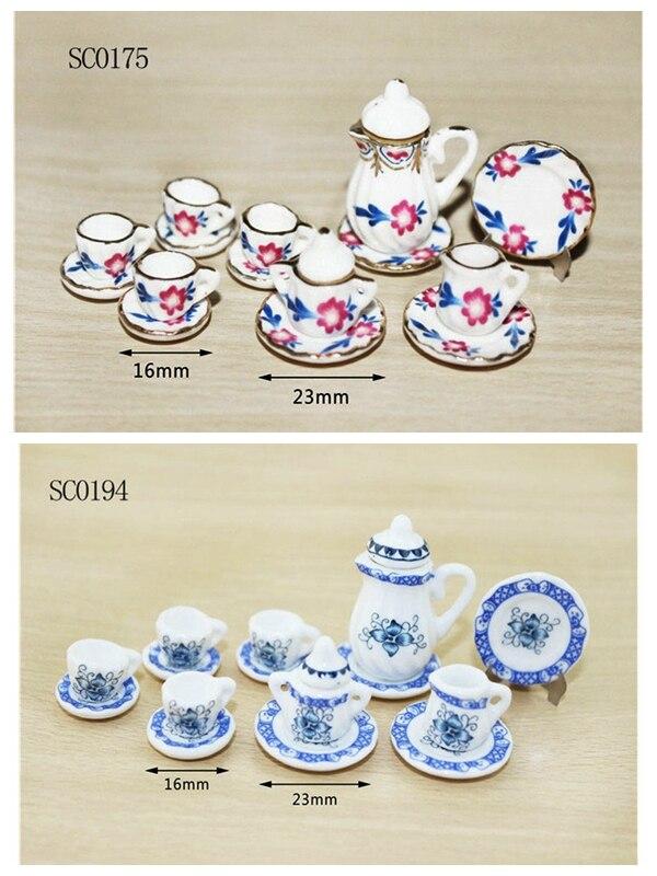 50 PCS 1//12 Dollhouse Miniature Dining Ware Porcelain Tea Dish Cup Plate Set
