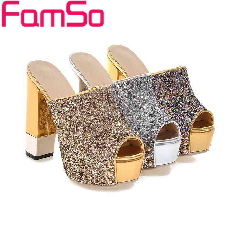 ФОТО FAMSO Size34-43 2017 Shoes Women Gold Silver High Heels Pumps Peep toe Party Shoes Summer Black Platforms Sandals ZWP2265