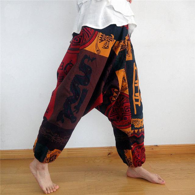 Mens Womens Gypsy Hippie Aladdin Baggy Harem Pants Hammer Trousers Boho Casual Pants Cross Pants 4