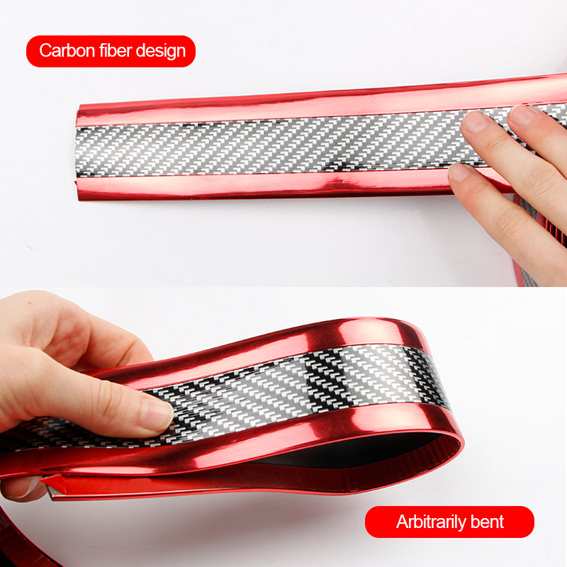 Image 3 - Carbon Fiber Car Anti Scratch Sticker Car Sill Strip Stickers For Automobiles Bumper Scuff  Protection Strip Auto Accessories-in Car Stickers from Automobiles & Motorcycles