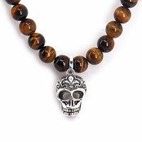 Thomas Matt Black Obsidian Beads And Skulls Cross Pendant Necklace Rebel Heart Punk Jewelry Gift For
