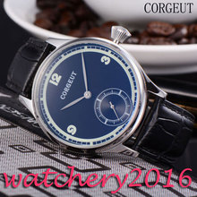Simple 2017 Newest Hot Brand Corgeut 44mm Black Dial Stainless Steel Hand Winding 6498 movement Men's Mechanical Wristwatches