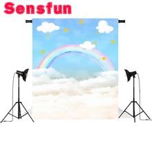 Nhiếp ảnh nền bầu trời xanh mây trắng cầu vồng bé sơ sinh chủ đề sinh nhật backdrop ảnh chuyên nghiệp studio 5x7ft