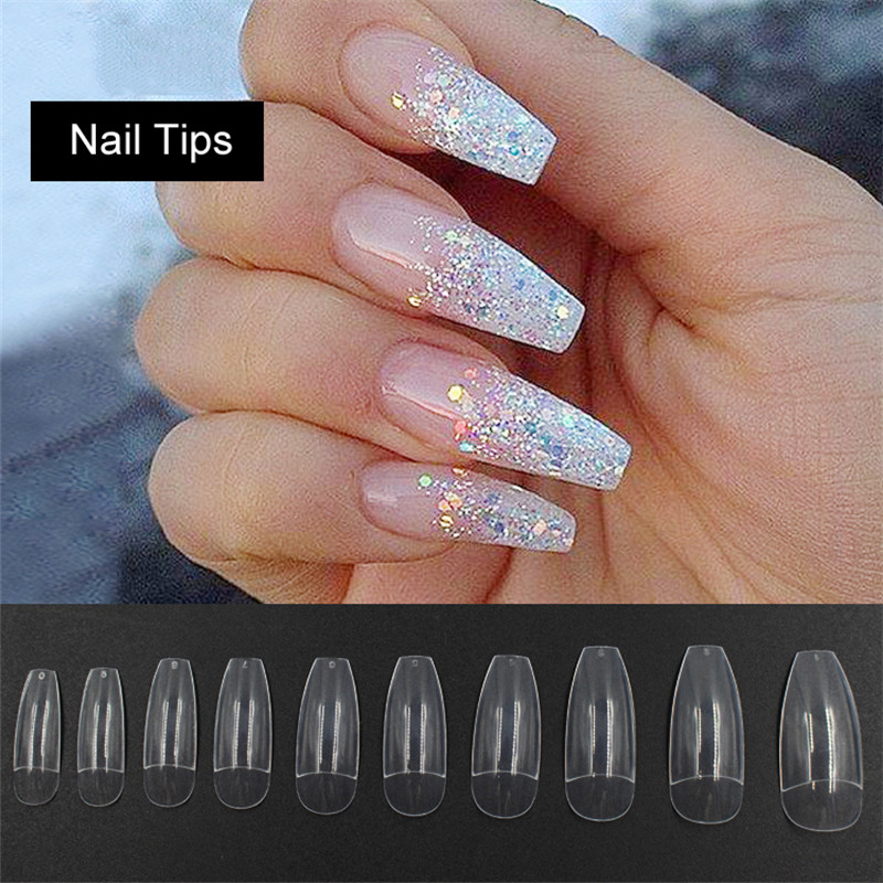 Artificial False Fake Uv Gel Nail Art Tips 500pcs Long Half Clear Coffin Nails Abs In From Beauty Health On Aliexpress
