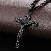 Cross Necklace Crucifix Jesus Piece Pendant Gold Color Stainless Steel Men
