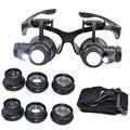 Lupas 10X 15X 20X 25X Jóias Olho Óculos de Reparação do Relógio Lupa Com 2 Luzes LED New Lupa Microscópio