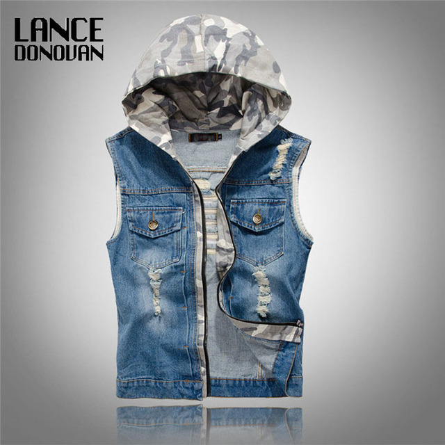 Mens Denim Jean Vests with Hooded Ripped Washed Vintage Blue Zipper Closure Sleeveless Jacket