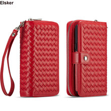 Luxury Zipper Weave Case For Samsung Galaxy S9/S9 Plus Wallet Magnet Removable Phone Cover S9 Note9 Correa