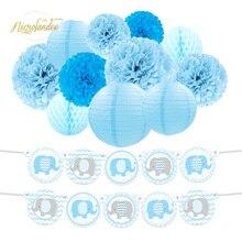 NICROLANDEE 12 pcs/set Elephant Blue Pink Baby Shower Kids Child Happy Birthday Decoration Kit Party DIY Decor