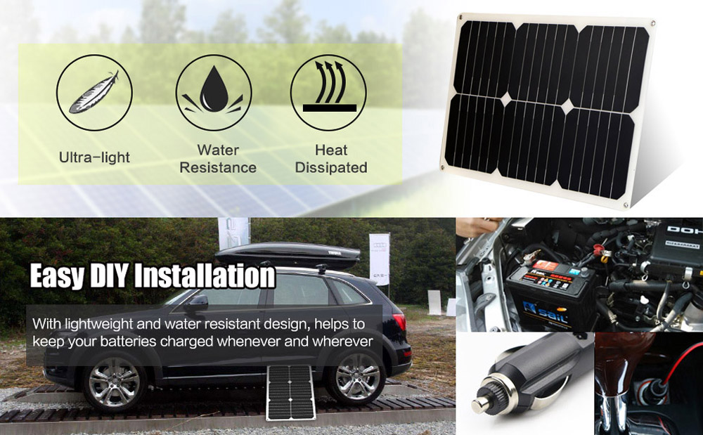 18W 12V Sunpower Solar Panel PWM 20A Controller Charger Kit Portable Solar car charger for 12V car battery motorcycle boat in Solar Cells from Consumer Electronics