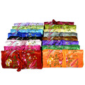 Multipurpose Embroidered Gift Bag Jewellery Travel Roll Storage Cotton Filled Satin Fabric Makeup Packaging Multi Zipper Pouches
