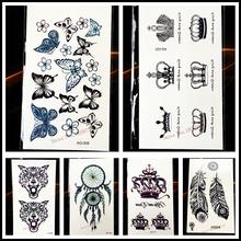 Queen Crown Water Transfer Health Tattoo Body Art Arm Tatoo Women HYF-009 Kids Henna Waterproof Tattoo Black Color Mehndi