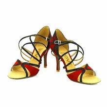 YOVE Dance Shoes Suede Latin/Salsa Dance Shoes Women's Color Contrast Open Toe Vintage 3.5″ Flare Heel w123-18