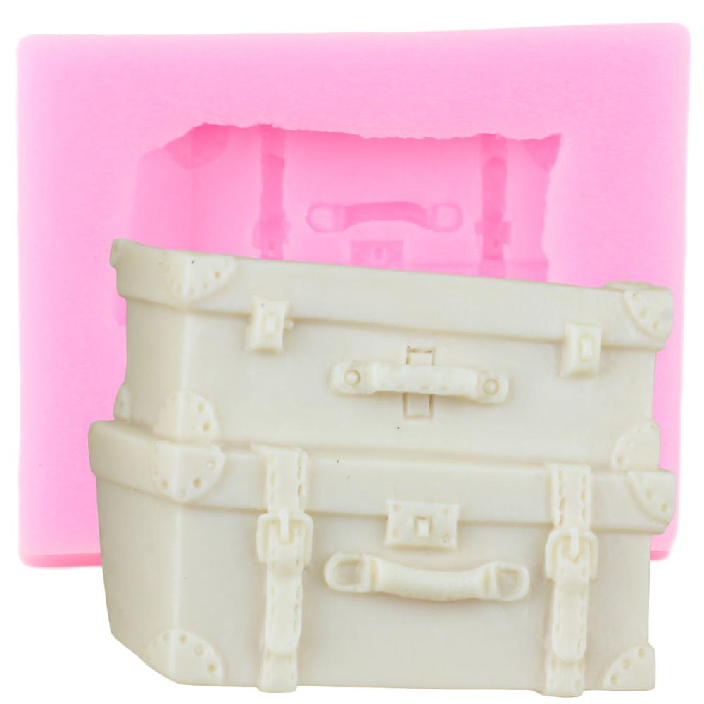 3D Suitcase Box Luggage Silicone Mold Polymer Clay Fondant Baking Cake Decorating Tools Chocolate Gumpaste Candy Moulds