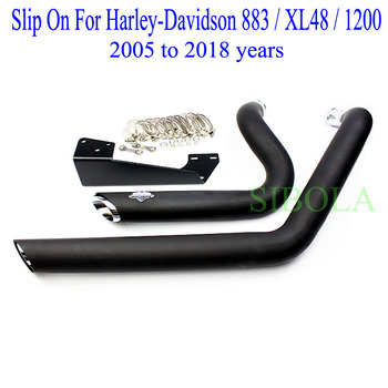 Slip On For Harley-Davidson 883 / XL48 / 1200 Motorcycle Exhaust Muffler Full Systems Black Header Pipe 2005 to 2018 Years