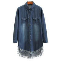 2018 Long Denim Dress Shirt Long Sleeve Women Dresses Women Vintage Mini Dress Jean Jacket Robe