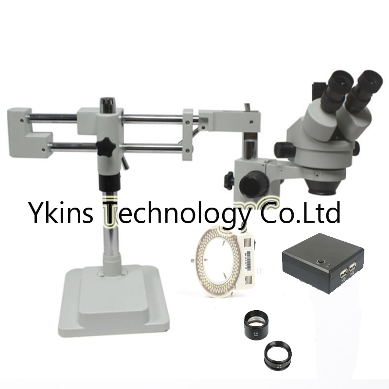 3.5X-90X Double Boom Stand Simul Focal Stereo Zoom trinocular Microscope+OSD measurement camera+144pcs Led Microscope цена