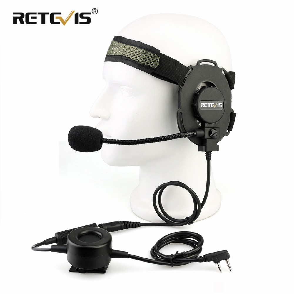 RETEVIS EH060K Tactical Headset Military Wakie Talkie Headset Flexible Microphone For Kenwood Baofeng UV 5R/UV82 RT1/RT81/RT50-in Walkie Talkie from Cellphones & Telecommunications