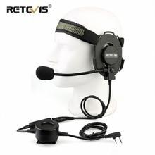 Тактическая гарнитура RETEVIS EH060K, военная игровая гарнитура Wakie Talkie для страйкбола, микрофон для Kenwood ForBaofeng UV 5R/UV82 RT1/RT81