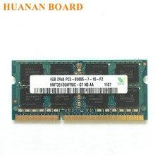 شحن مجاني 4G 2Rx8 PC3 8500S DDR3 1066Mhz 4gb ذاكرة الكمبيوتر المحمول 4G pc3 8500S 1066MHZ وحدة دفتر SODIMM RAM Hynix شرائح