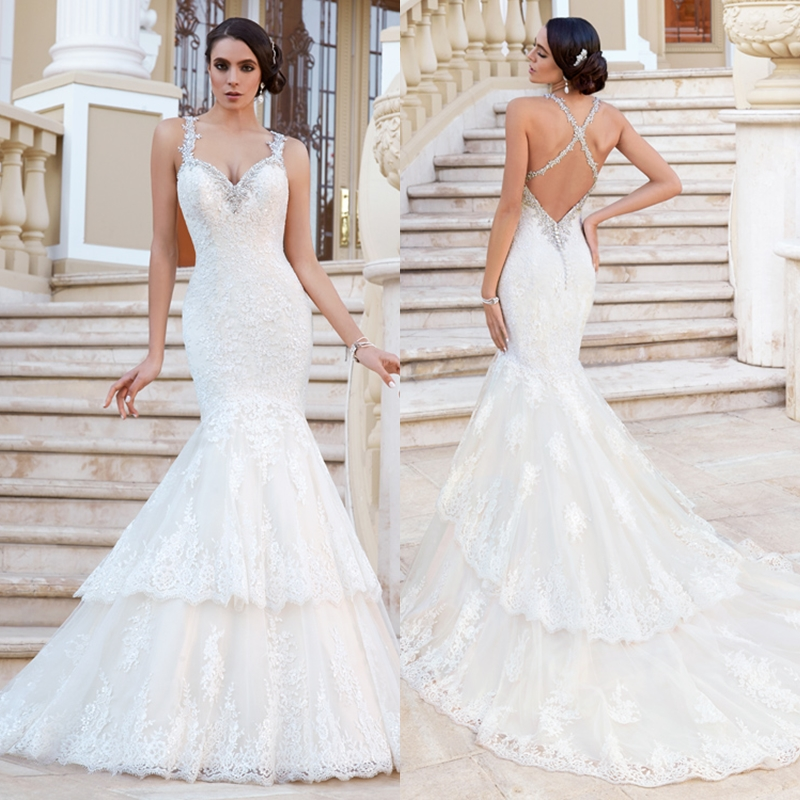 2015 Lace Trumpet Wedding Dresses Sweetheart Criss Cross Back ...