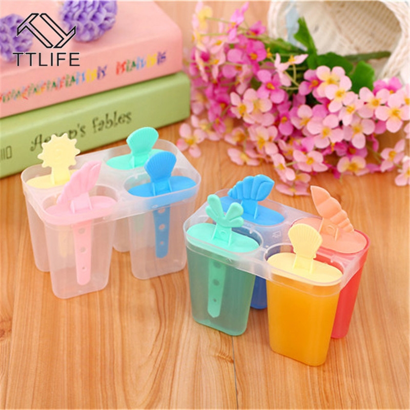TTLIFE 4 Cavity Ice Mold Plastic Cream With Sticks Useful Popsicle Maker Summer DIY Kitchen Accessories