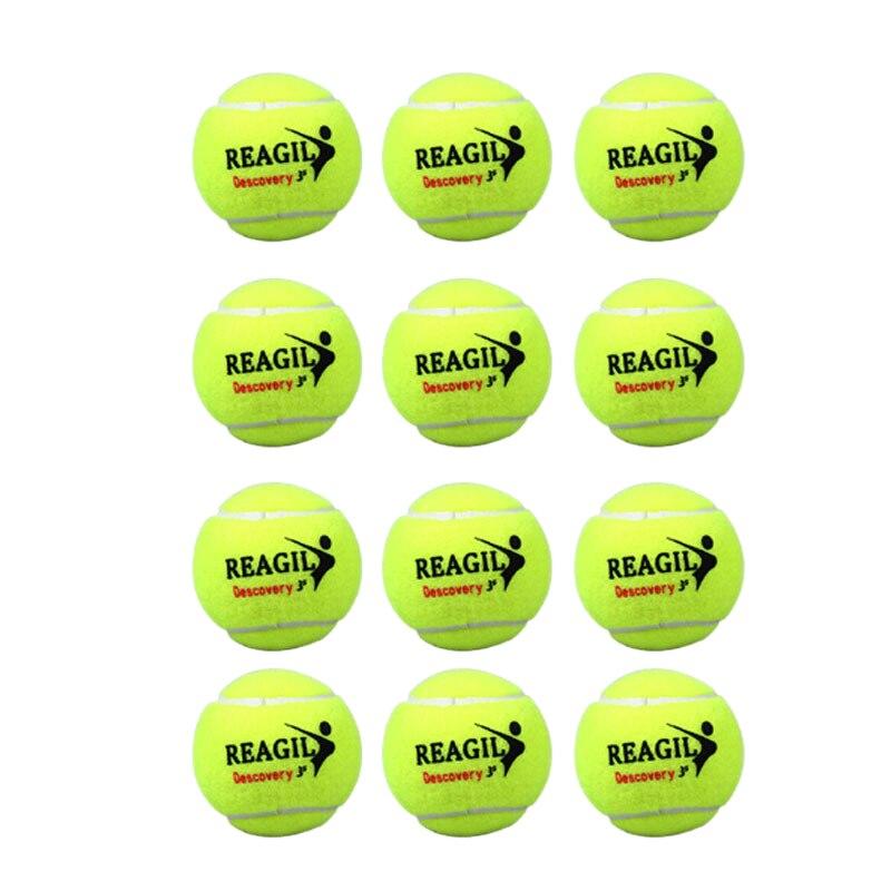 Regail 12Pcs Tennis High Elasticity Training Ball Natural Rubber And Woolen Competition Tennis