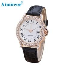 2017 Newly Designed Women Leisure Time Faux Leather Analog Diamond Simple Tasteful Luxury Clock Dial Wrist Watch 321