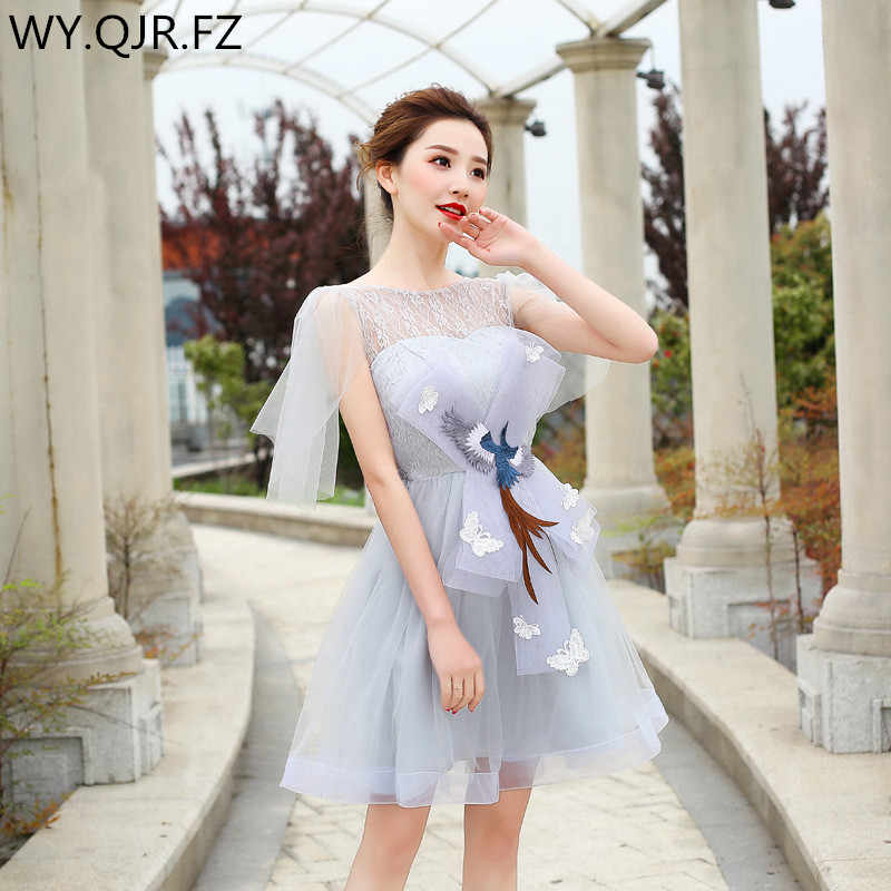 ZX55 2018 new short gray bridesmaid dresses wedding party prom dress 2018  cheap wholesale Bride 9c3d1ec0b127