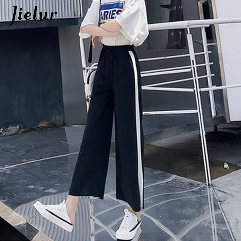 Jielur Women High Waist   Pants   Summer 2019 Chiffon Casual Loose   Wide     Leg     Pants   3 Colors Side Stripes Slit Black Pantalon Femme