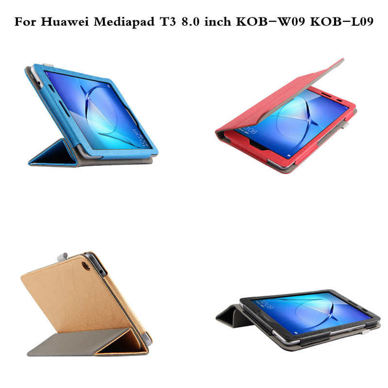 Luxury Folio Stand PU Leather Book Case Cover For Huawei MediaPad T3 8 8.0 inch KOB-L09 KOB-W09 Funda Tablet PC coque smart cover colorful painting pu leather stand case for huawei mediapad m3 lite 8 8 0 inch cpn w09 cpn al00 tablet