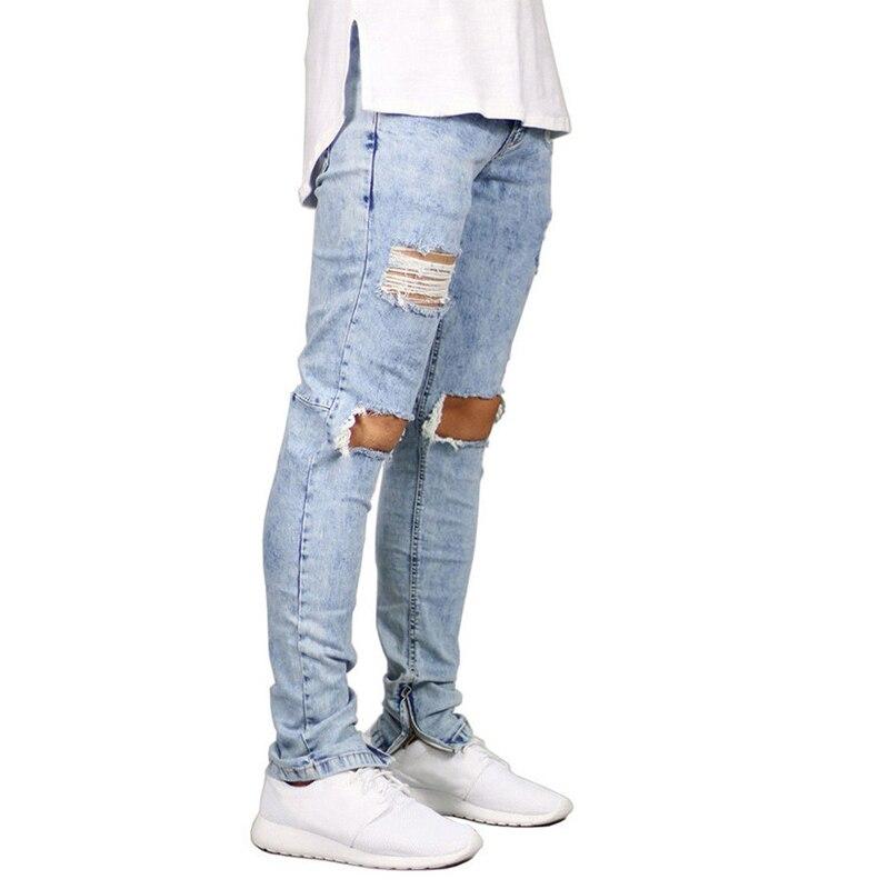 2018 otoño y el invierno nuevo estilo de la calle de la moda de tendencia de los hombres Delgado rallado jeans