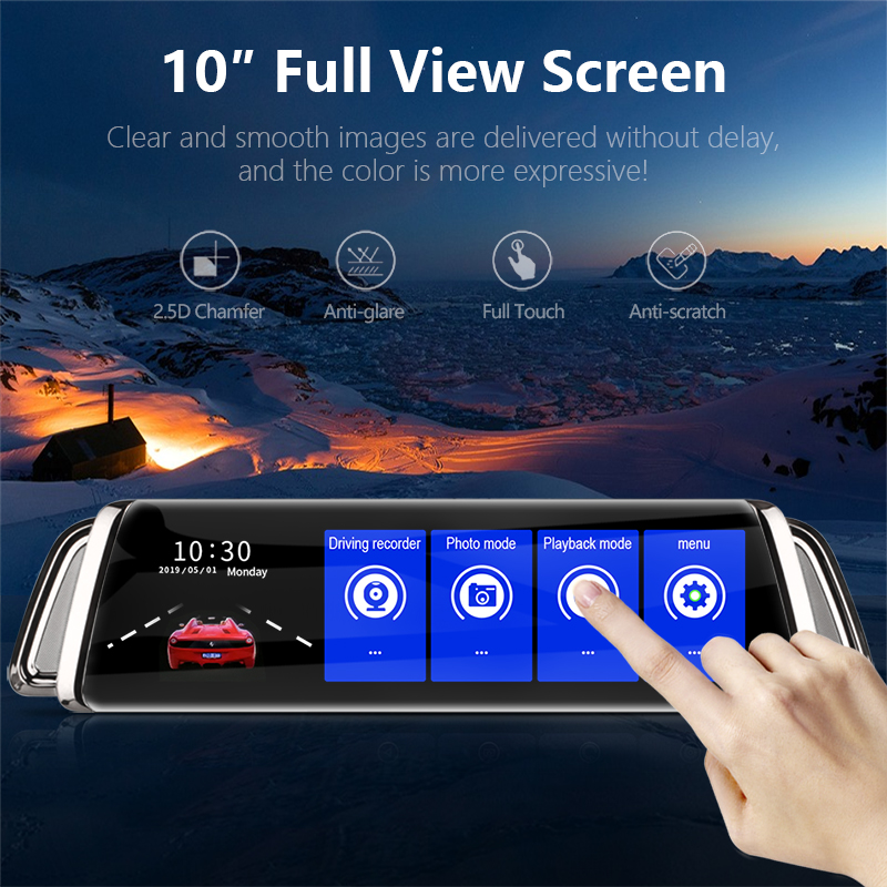 Image 2 - 10 Inch Touch Screen Stream Car DVR Rear View Mirror Dash Cam Full HD Car Camera 1080P Back Camera Dual Lens Video Recorder-in DVR/Dash Camera from Automobiles & Motorcycles