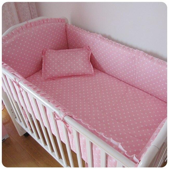 Promotion! 6PCS Pink Applique baby bedding crib set ,crib bumper (bumper+sheet+pillow cover)
