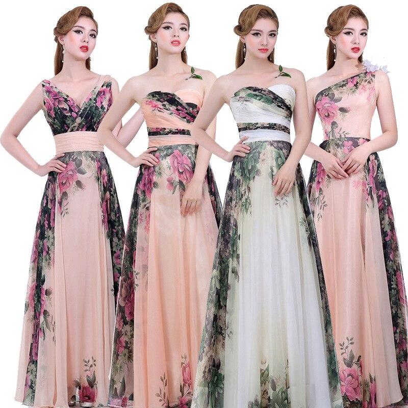 Magnífico Vestido De La Dama De Honor Estampado Floral Ideas ...