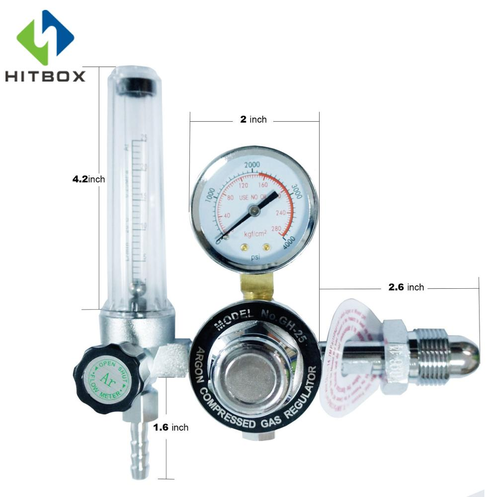 HITBOX TIG Argon Gauge Regulator Flow Meter Regulator Argon Weld Flow Meter Gauge oxygen regulator 870 medical oxygen bottle flow regulator