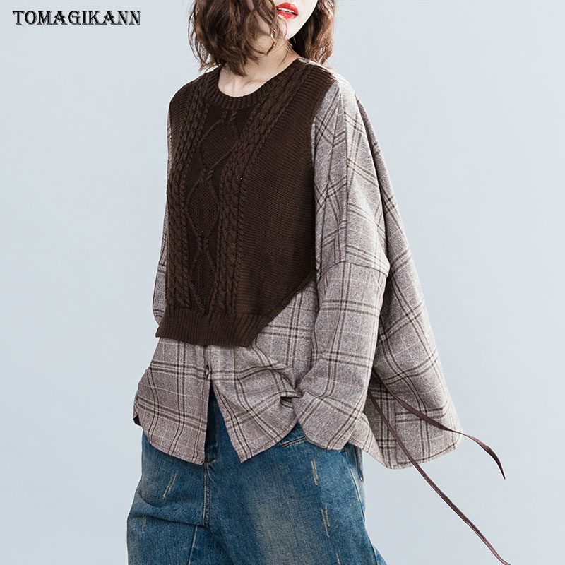Fake Two Piece Sweater   Blouse     Shirt   Women Top 2019 Plaid Knitted Spliced Drawstring Blusas O Neck Batwing Sleeve Chemisier femme