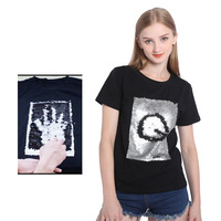 Creative Graffiti Reversible Sequins Black And White Beads Shirt Magical Color Changing Sequins Tees T Shirt