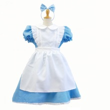 blue alice in wonderland costume for kids dress lolita Maid