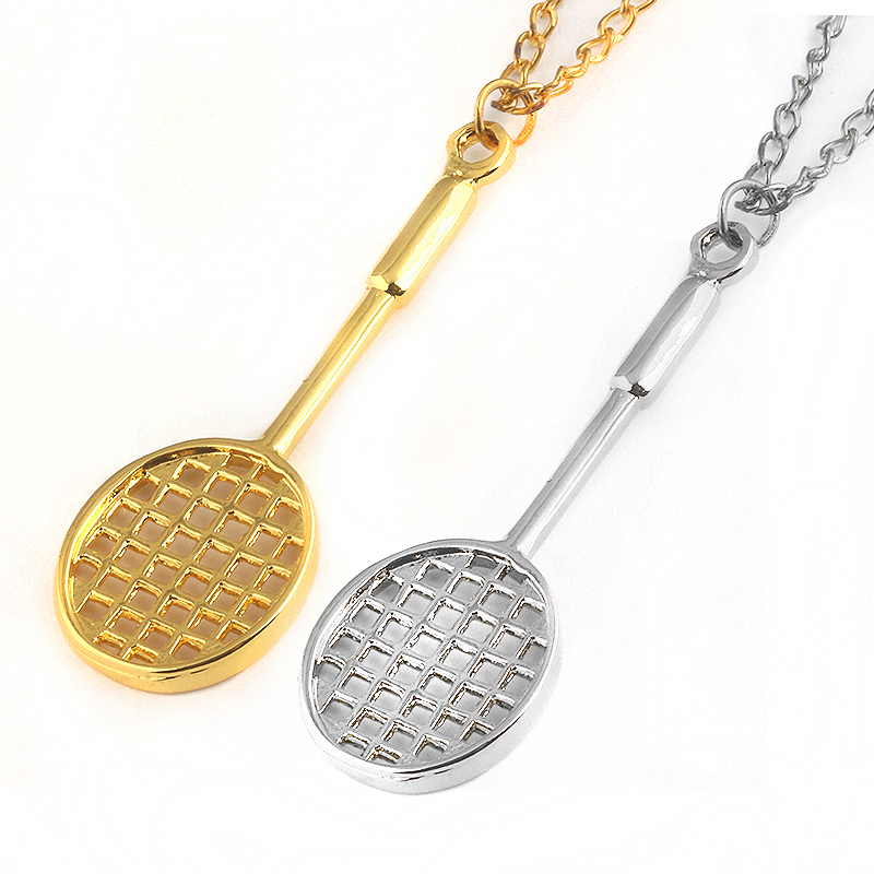 Popular Badminton racket necklace sports&fitness link chain necklace 2 COLOUR