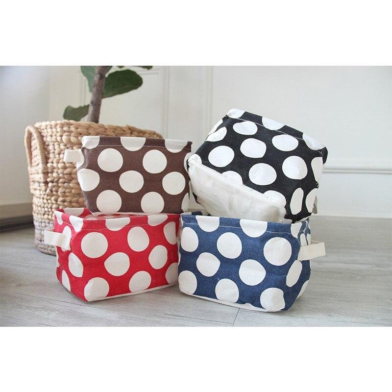 Bag Storage-Box Cotton-Handle Foldable Small Desktop Opening Four-Color Wave-Point Large