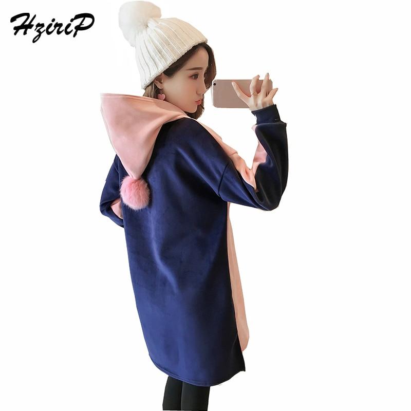 HziriP Maternity Dress 2017 Winter Fashion Long Sleeve Pregnant Plus Velvet Thick Gold Velvet Hooded Sweater Dresses Plus Size