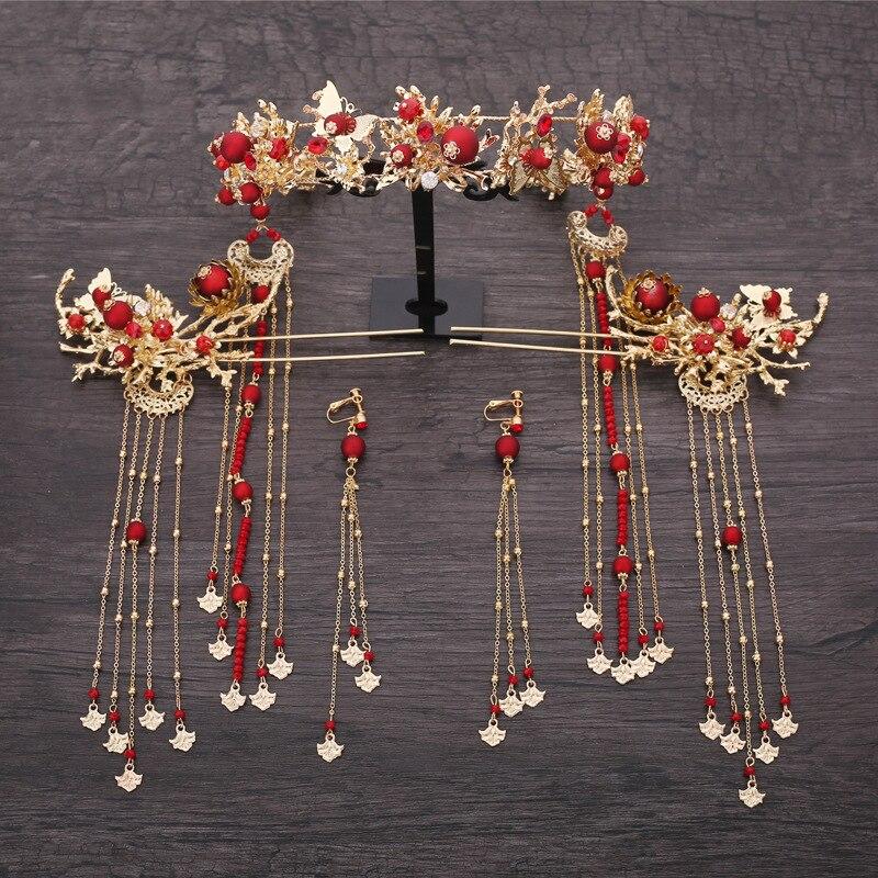 Chinês phoenix grânulos de cabelo brincos coroa coroa conjuntos noivas decoração do cabelo bijoux casamento acessórios para o cabelo