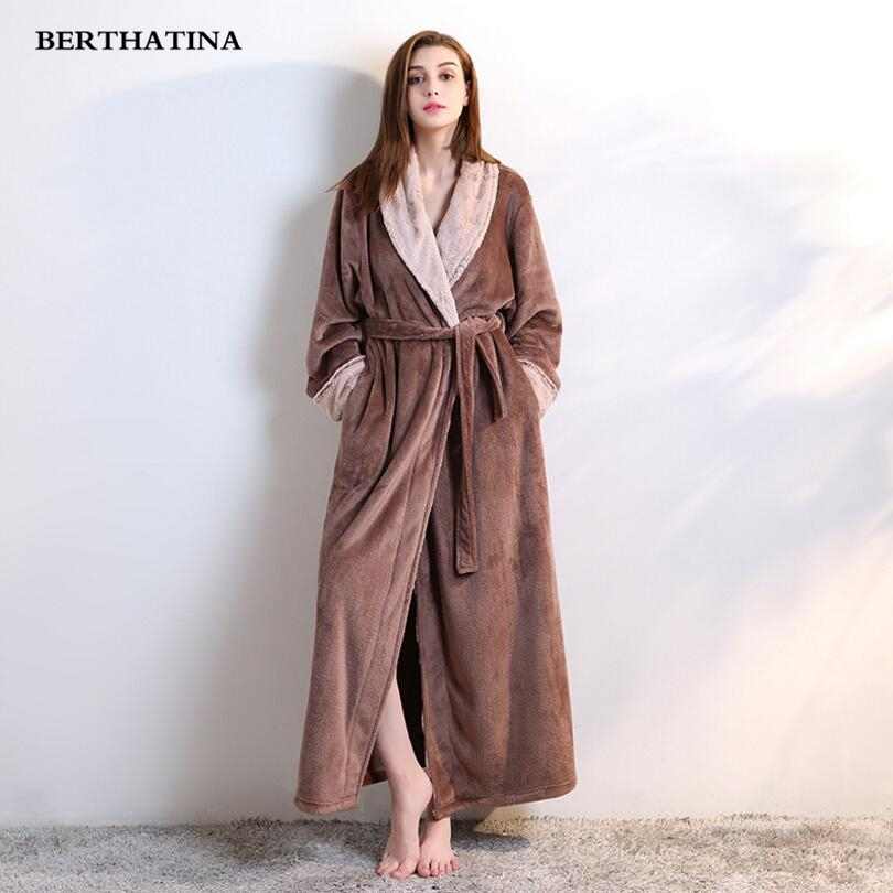 1545a53221 BERTHATINA Simple waffle 100% Polyester Robes Women Long-sleeved Casual  Couples Bathrobes Quality SPA