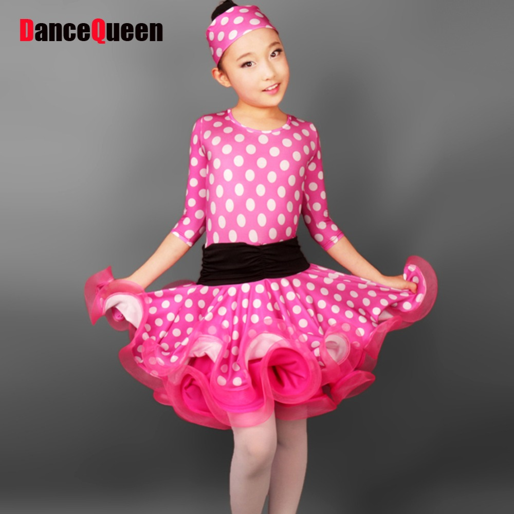 2018 New Latin Dance Dress For Girls Wave Point Children Ballroom Tango Dresses Kids Salsa Performance Dresses For Sale DQ4005