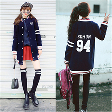 Kpop EXO Hoodie Long Section Sehun Baekhyun Chanyeol Baseball Uniform Jacket Sweatershirt K-pop Clothes Coat EXO-M exo-K Album