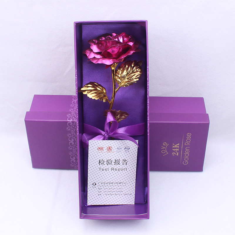 Креативный подарок Роза эмуляция цветок 24 к Золотая фольга Роза подарок на день Святого Валентина одиночный позолоченный букет розы коробка Золотая фольга цветок - Цвет: 03