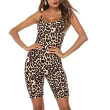 Слинг леопардовый комплект для женщин сексуальный обтягивающий костюм с ремнями костюм пляжного типа без рукавов с принтом Комбинезон Комбинезоны# Zer